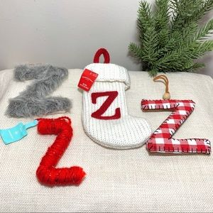 Letter Z Christmas Ornaments and Mini Stocking NEW